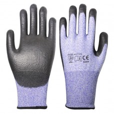 Blue/Black PU Coated Cut Proof Level 5 Gloves