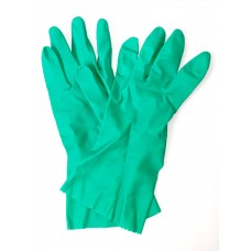 Green Flock Lined Natural Rubber Gloves (Large)