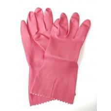 Pink Flock Lined Natural Rubber Gloves (7 - 7 1/2)